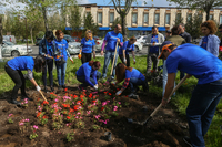Converse Bank employees took part in the republican Saturday clean-up